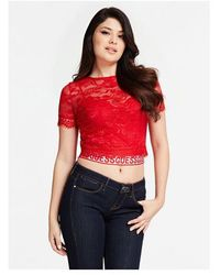 Guess TOP DENTELLE - Rouge