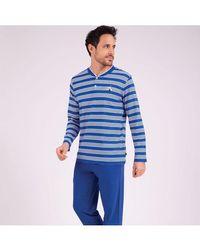 EMINENCE Pyjama long col T homme Strike - Bleu