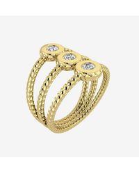 Innocent stone Bague martelée en or jaune et diamants de synthèse - Métallisé