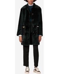 Sandro Manteau en peau lainée - Noir