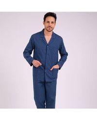 EMINENCE Pyjama long ouvert homme Héritage - Bleu