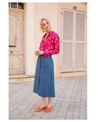 Soi Paris Jupe boutonnée en lyocell denim - Bleu