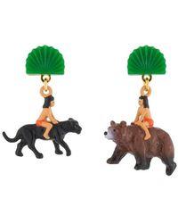 N2 Boucles D'oreilles Pendantes Asymétriques Tige Mowgli Sur Le Dos De Baloo Et Bagheera - Vert