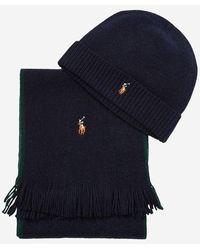 Polo Ralph Lauren Ensemble bonnet et écharpe en laine mérinos - Noir
