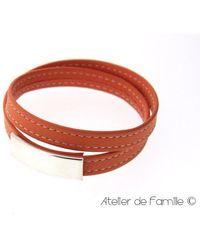 Atelier de Famille Bracelet cuir sellier et plaque Argent massif - Orange