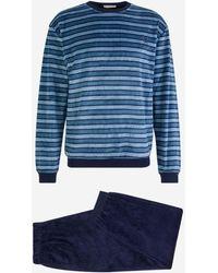 Mariner Pyjama en velours rayé - Bleu