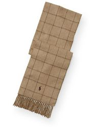 Polo Ralph Lauren Écharpe homme grands carreaux en laine et cachemire - Neutre