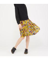 J.Crew Jupe genoux plissée en soie à imprimé floral - Multicolore