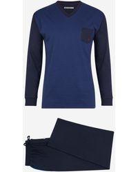 Mariner Pyjama en coton bleu marine à rayures