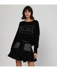 DIESEL Pull crop ample maille signature - Noir