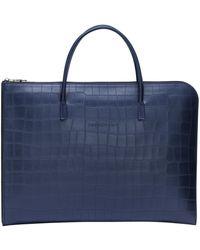 Longchamp Porte-documents Croco Block - Bleu