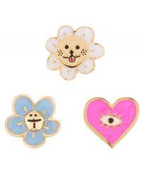 N2 Pins Soleil Rieur, Cœur Rose Et Petite Fleur Bleue