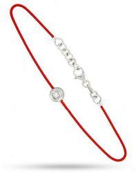 Tousmesbijoux Bracelet rond diamant et argent sur fil rouge