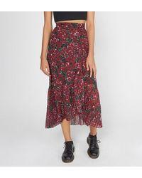 The Kooples Jupe longue florale plissée soleil - Rouge