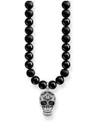 Thomas Sabo Chaîne Power Necklace tête de mort maori pavé Argent sterling 925, noirci - Métallisé