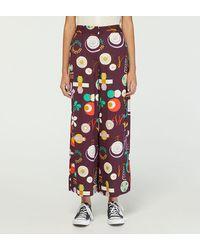 Nice Things Pantalon large court Capri fluide - Multicolore