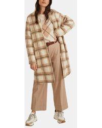 Yerse Manteau droit à carreaux mi-long - Neutre