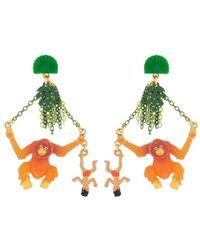 N2 Boucles D'oreilles Pendantes Tige Mowgli Et Roi Des Singes - Orange