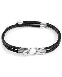 Anchor & Crew - Bracelet Conway Argent et Cuir Tressé - Lyst