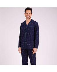 EMINENCE Pyjama long ouvert homme Night Fever - Bleu