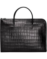 Longchamp Porte-documents Croco Block - Noir