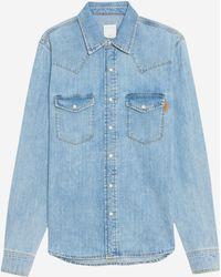 Sandro Chemise en jean en coton - Bleu