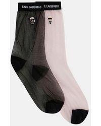 Karl Lagerfeld Lot de 2 paires de chaussettes K/Konik semi transparentes - Noir