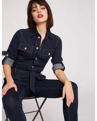 Morgan - Combinaison droite ceinturée en jean - Lyst