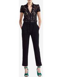 Maje Combinaison pantalon Palilo guipure et crêpe - Noir