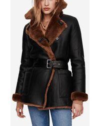 Maje Manteau Gaban peau lainée réversible façon canadienne - Noir