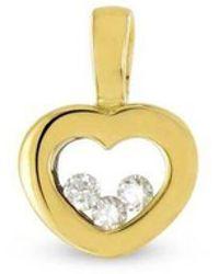 Tousmesbijoux Pendentif cœur en Or 750/00 et diamants libres - Multicolore
