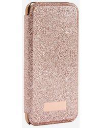 Ted Baker Coque à rabat pailletée pour iPhone 6/6s/7/8 Glitsie - Rose