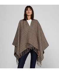 Maje Poncho Emma drap de laine à carreaux - Marron