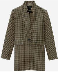 Maje Manteau Galro laine carreaux - Marron
