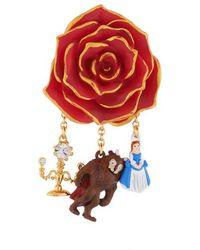 N2 Broche Rose Rouge Et Pampilles La Belle, La Bête Et Chandelier