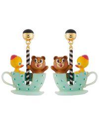 N2 Boucles D'oreilles Ourson Et Petit Canard Tout Contents Dans Leur Tasse Tournante - Multicolore
