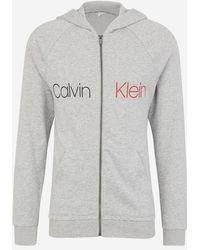 Calvin Klein - Sweat d'intérieur ample et zippé en coton chiné à capuche - Lyst