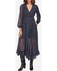 Maje Robe Revana longue asymétrique en dévoré lurex - Bleu