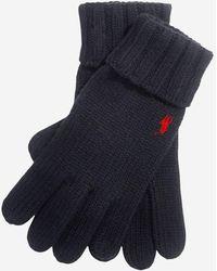 Polo Ralph Lauren Gants en laine côtelée logo - Noir