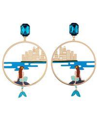N2 By Les Néréides - Créoles petite sirène observant le monde urbain - Bleu