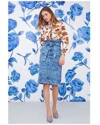 Manoush Jupe Floral Denim bleue