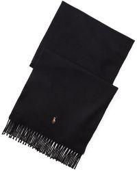 professionnel de la vente à chaud en ligne à la vente plus récent Écharpe en laine à franges - Noir