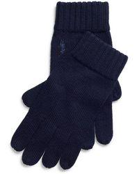 Polo Ralph Lauren - Gants en laine côtelée logo - Lyst