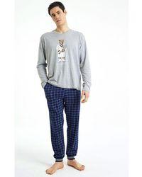 Arthur Pyjama Long Teddy Marine - Bleu