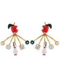 N2 Boucles D'oreilles Pomme Empoisonnée Et Fermoir Amovible Blanche Neige - Rouge