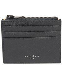 Sandro Porte-cartes zippé en cuir de vachette - Noir