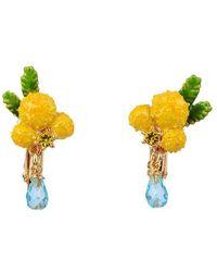 Les Nereides Boucles D'oreilles Clip Fleur De Mimosa Et Petites Feuilles - Jaune