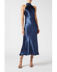 Galvan London Metallic Cropped Sienna Dress - Blue