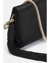 Galvan London Mini Satin Tassel Bag - Black