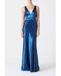 Galvan London Metallic Bella Dress - Blue